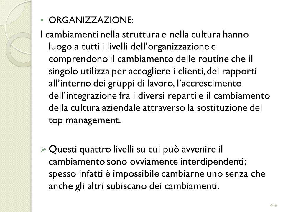 ORGANIZZAZIONE: I cambiamenti nella struttura e nella cultura hanno luogo a tutti i livelli dellorganizzazione e comprendono il cambiamento delle rout
