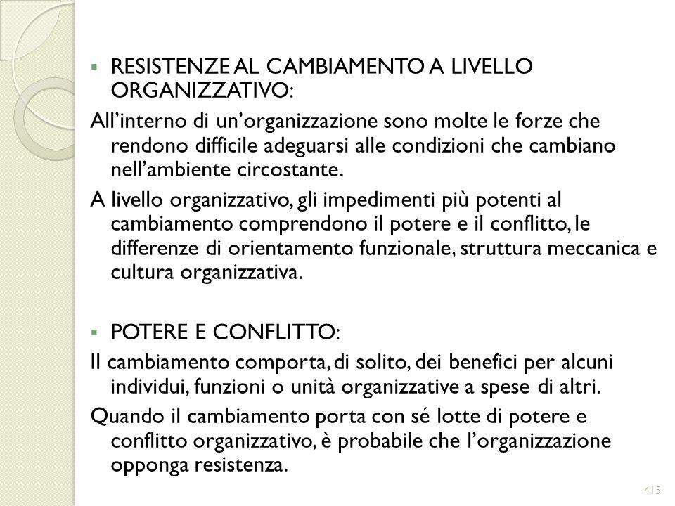 RESISTENZE AL CAMBIAMENTO A LIVELLO ORGANIZZATIVO: Allinterno di unorganizzazione sono molte le forze che rendono difficile adeguarsi alle condizioni