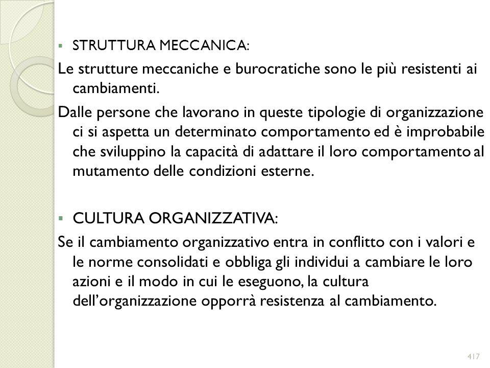 STRUTTURA MECCANICA: Le strutture meccaniche e burocratiche sono le più resistenti ai cambiamenti. Dalle persone che lavorano in queste tipologie di o