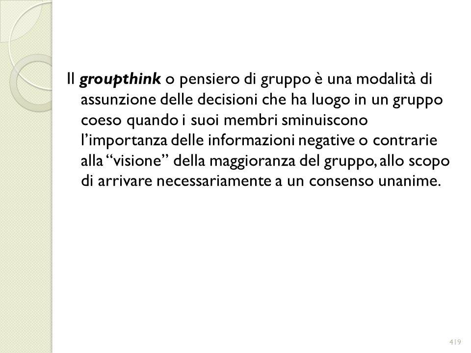 Il groupthink o pensiero di gruppo è una modalità di assunzione delle decisioni che ha luogo in un gruppo coeso quando i suoi membri sminuiscono limpo