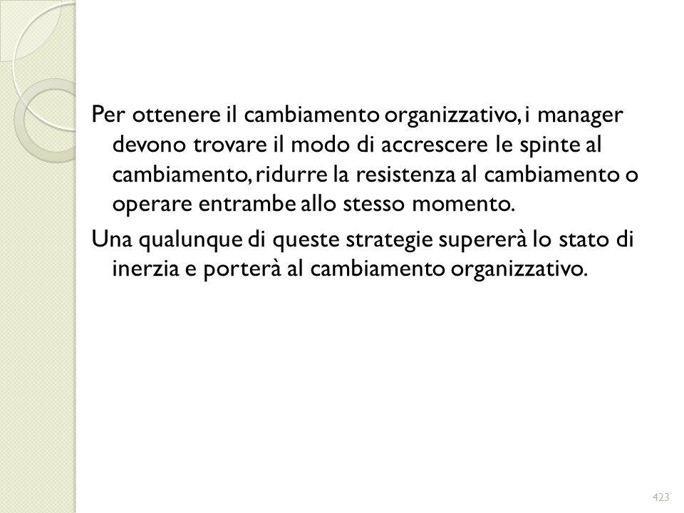 Per ottenere il cambiamento organizzativo, i manager devono trovare il modo di accrescere le spinte al cambiamento, ridurre la resistenza al cambiamen