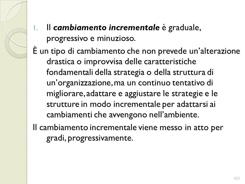 1. Il cambiamento incrementale è graduale, progressivo e minuzioso. È un tipo di cambiamento che non prevede unalterazione drastica o improvvisa delle