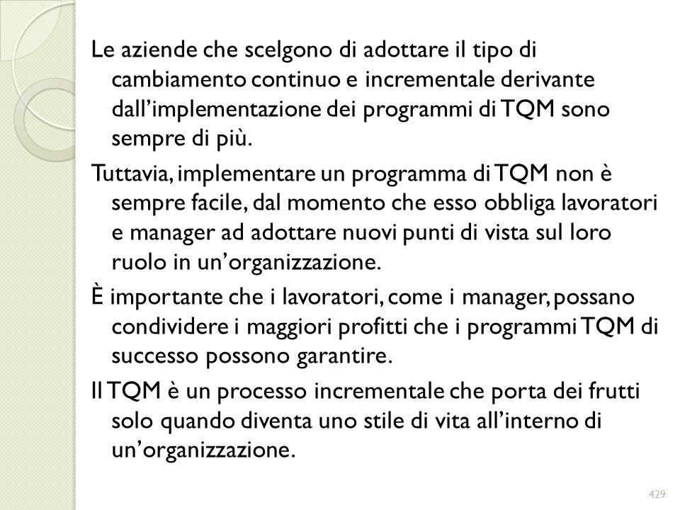 Le aziende che scelgono di adottare il tipo di cambiamento continuo e incrementale derivante dallimplementazione dei programmi di TQM sono sempre di p