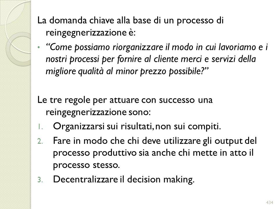 La domanda chiave alla base di un processo di reingegnerizzazione è: Come possiamo riorganizzare il modo in cui lavoriamo e i nostri processi per forn
