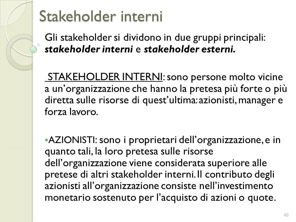 Stakeholder interni Gli stakeholder si dividono in due gruppi principali: stakeholder interni e stakeholder esterni. STAKEHOLDER INTERNI: sono persone