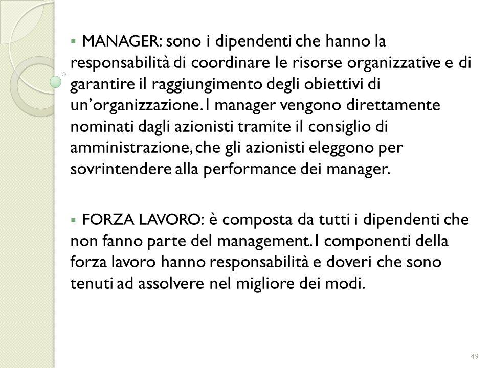 MANAGER : sono i dipendenti che hanno la responsabilità di coordinare le risorse organizzative e di garantire il raggiungimento degli obiettivi di uno