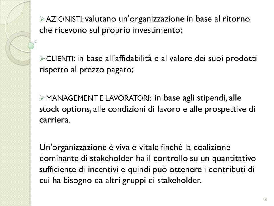 AZIONISTI: valutano unorganizzazione in base al ritorno che ricevono sul proprio investimento; CLIENTI : in base allaffidabilità e al valore dei suoi