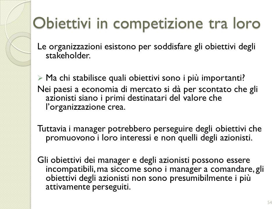 Obiettivi in competizione tra loro Le organizzazioni esistono per soddisfare gli obiettivi degli stakeholder. Ma chi stabilisce quali obiettivi sono i