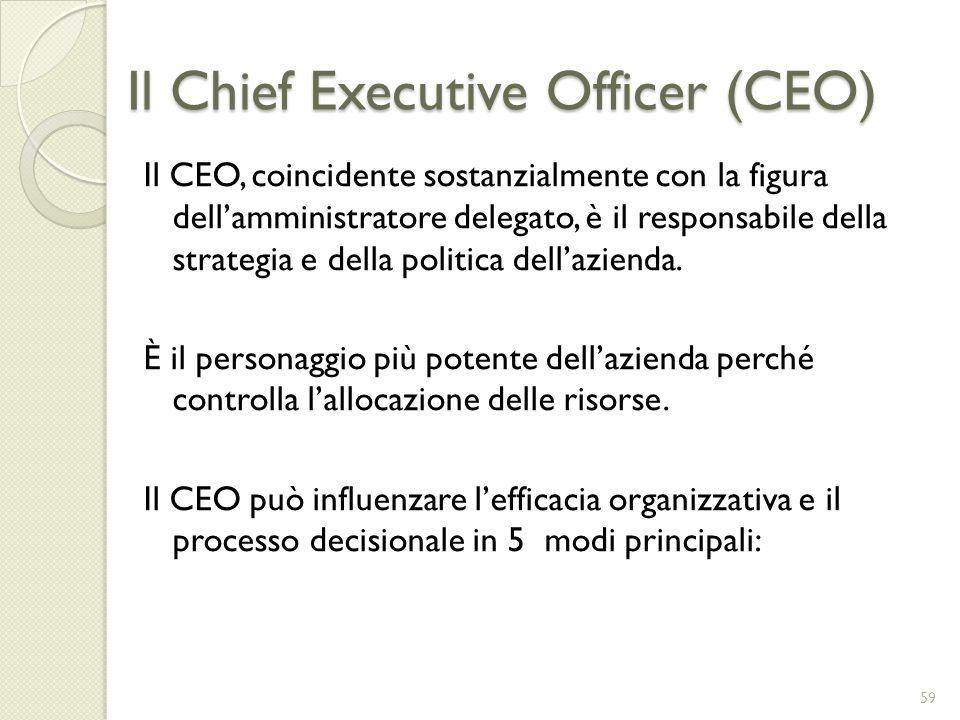 Il Chief Executive Officer (CEO) Il CEO, coincidente sostanzialmente con la figura dellamministratore delegato, è il responsabile della strategia e de