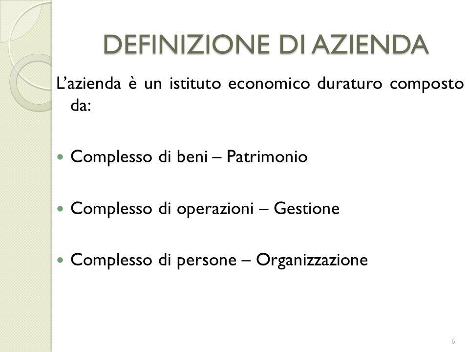 DEFINIZIONE DI AZIENDA Lazienda è un istituto economico duraturo composto da: Complesso di beni – Patrimonio Complesso di operazioni – Gestione Comple