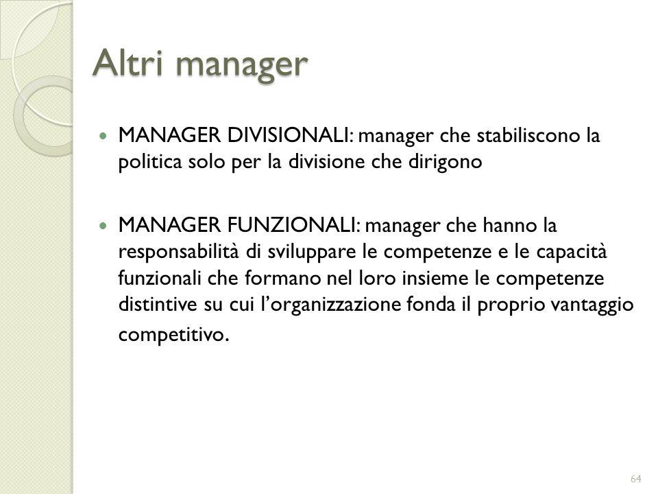 Altri manager MANAGER DIVISIONALI: manager che stabiliscono la politica solo per la divisione che dirigono MANAGER FUNZIONALI: manager che hanno la re