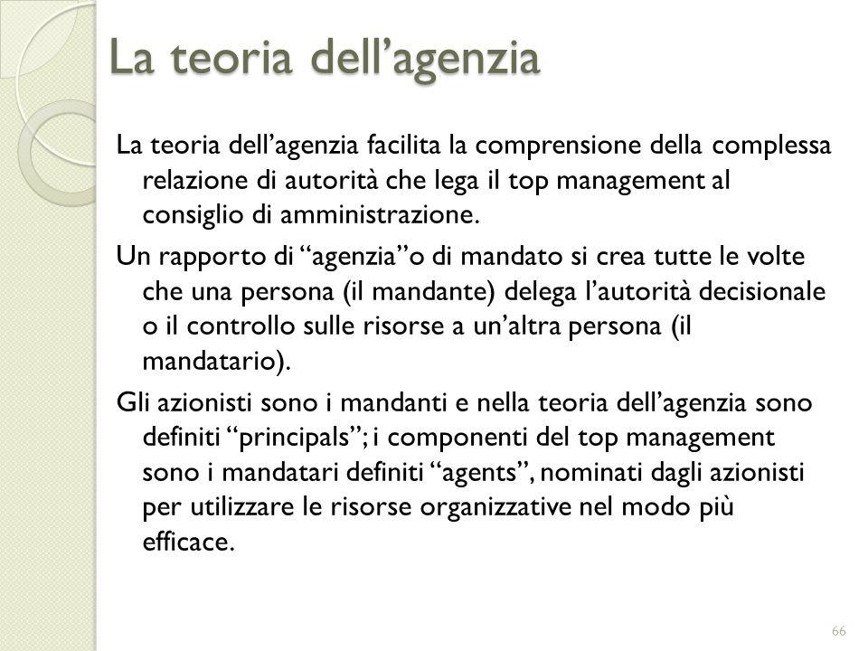 La teoria dellagenzia La teoria dellagenzia facilita la comprensione della complessa relazione di autorità che lega il top management al consiglio di