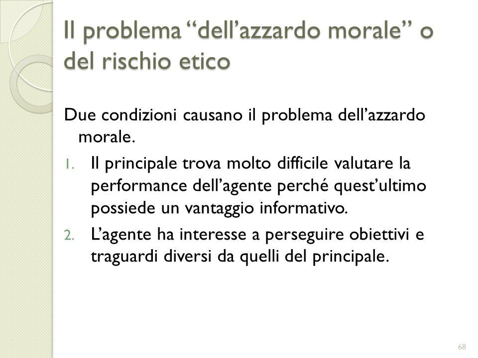 Il problema dellazzardo morale o del rischio etico Due condizioni causano il problema dellazzardo morale. 1. Il principale trova molto difficile valut