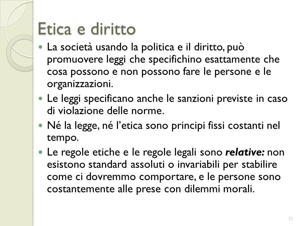 Etica e diritto La società usando la politica e il diritto, può promuovere leggi che specifichino esattamente che cosa possono e non possono fare le p