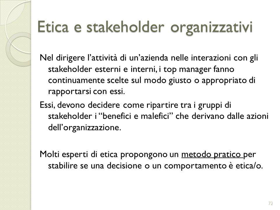 Etica e stakeholder organizzativi Nel dirigere lattività di unazienda nelle interazioni con gli stakeholder esterni e interni, i top manager fanno con