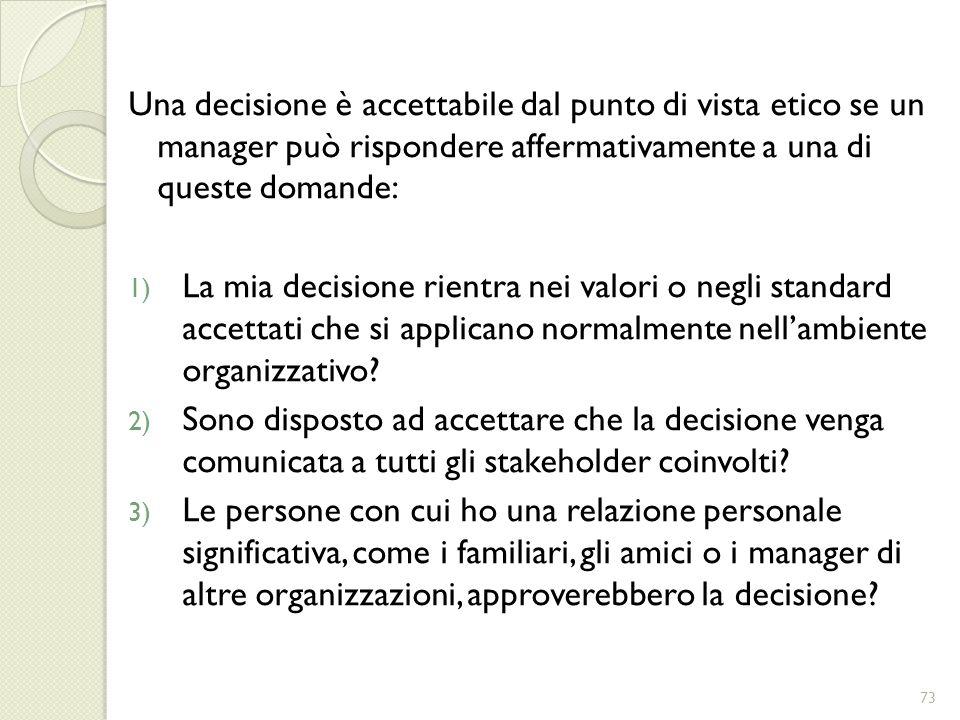 Una decisione è accettabile dal punto di vista etico se un manager può rispondere affermativamente a una di queste domande: 1) La mia decisione rientr