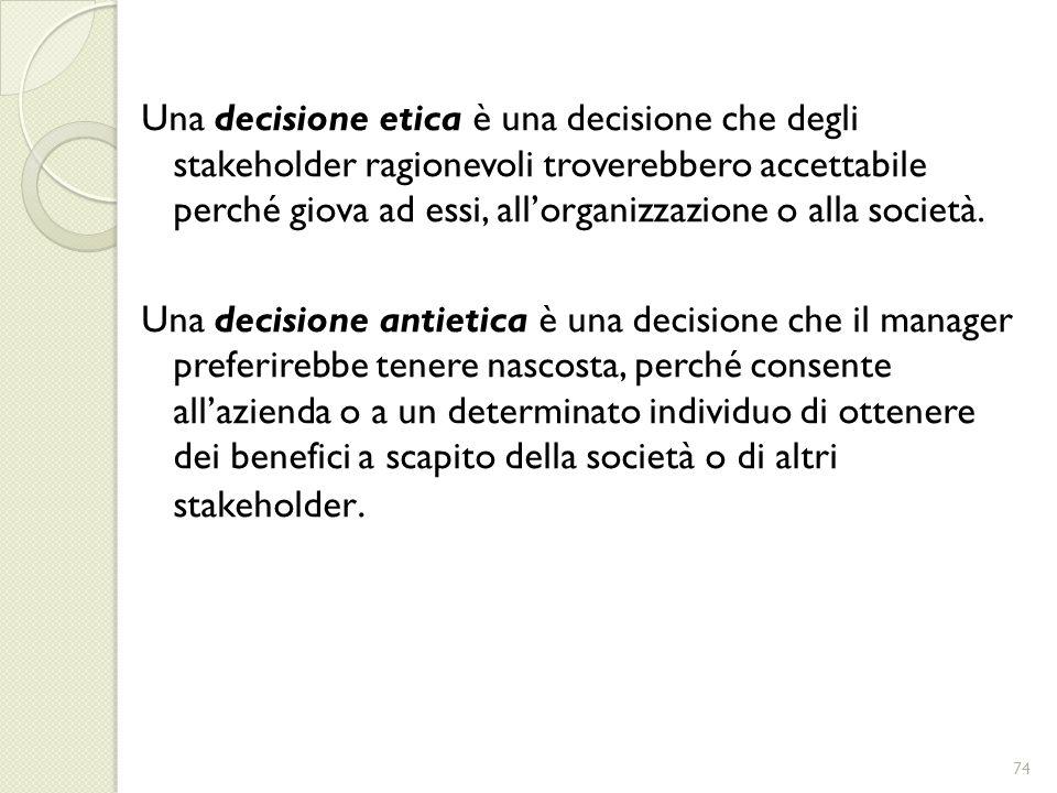 Una decisione etica è una decisione che degli stakeholder ragionevoli troverebbero accettabile perché giova ad essi, allorganizzazione o alla società.