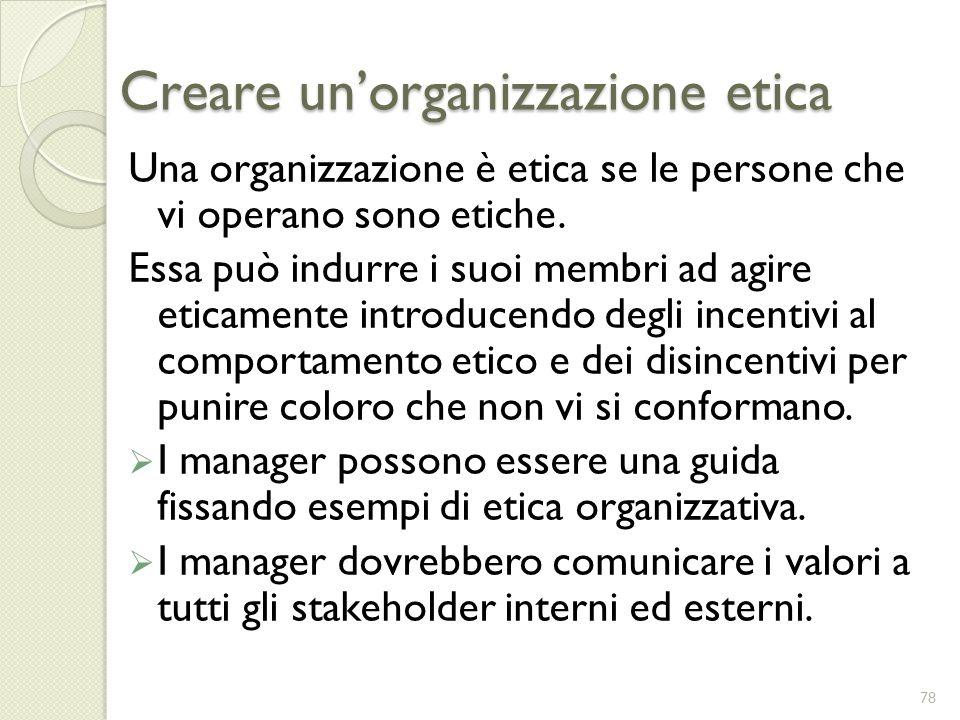 Creare unorganizzazione etica Una organizzazione è etica se le persone che vi operano sono etiche. Essa può indurre i suoi membri ad agire eticamente