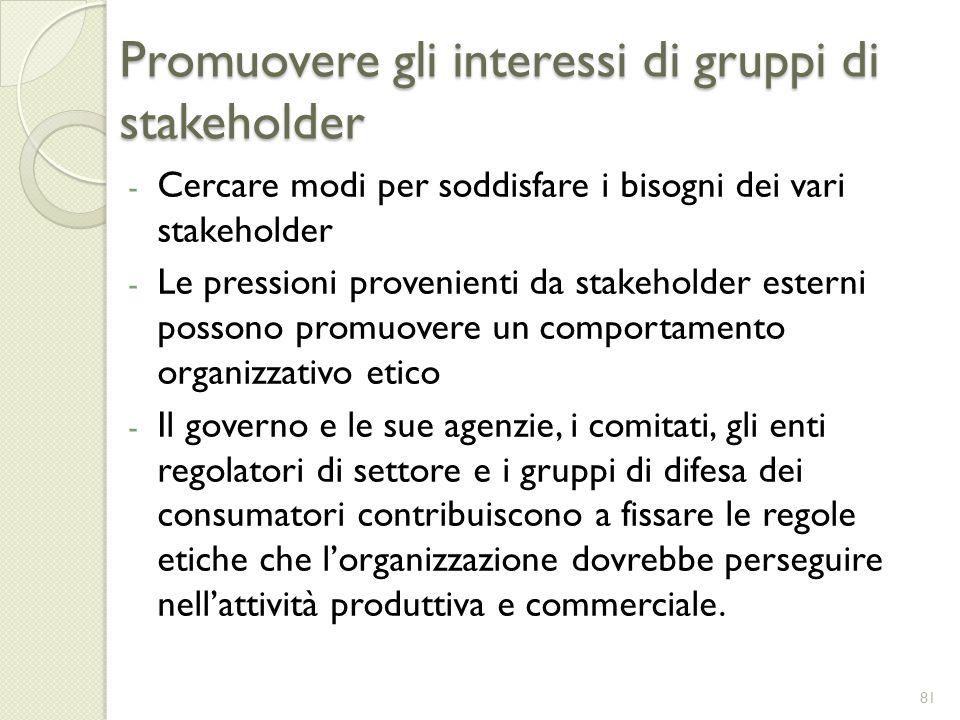 Promuovere gli interessi di gruppi di stakeholder - Cercare modi per soddisfare i bisogni dei vari stakeholder - Le pressioni provenienti da stakehold