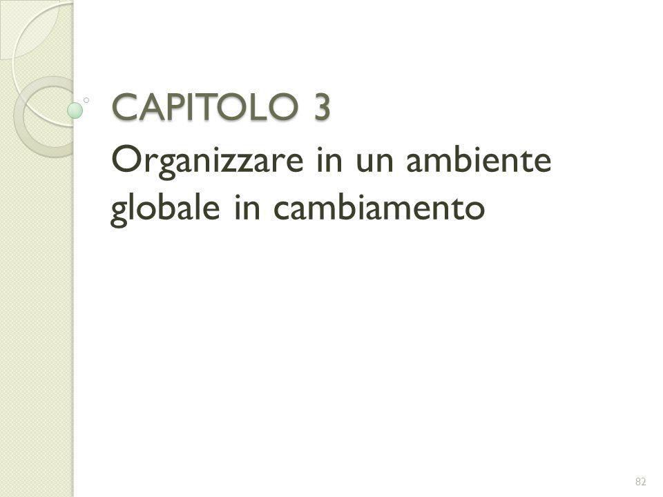 CAPITOLO 3 Organizzare in un ambiente globale in cambiamento 82