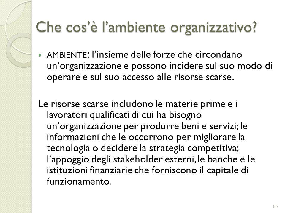 Che cosè lambiente organizzativo? AMBIENTE : linsieme delle forze che circondano unorganizzazione e possono incidere sul suo modo di operare e sul suo