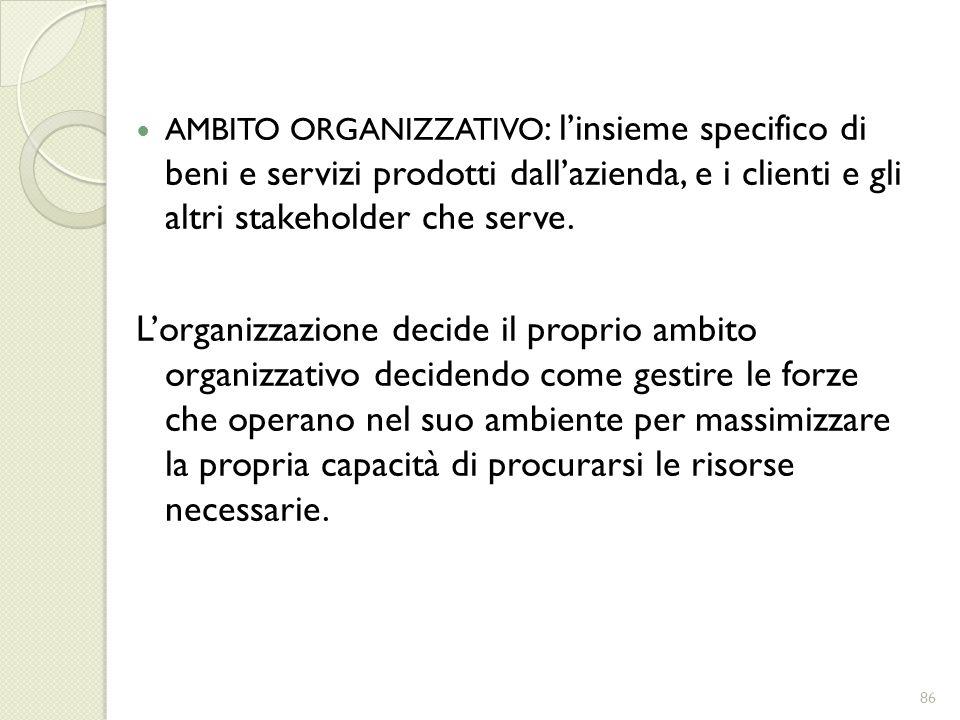 AMBITO ORGANIZZATIVO : linsieme specifico di beni e servizi prodotti dallazienda, e i clienti e gli altri stakeholder che serve. Lorganizzazione decid