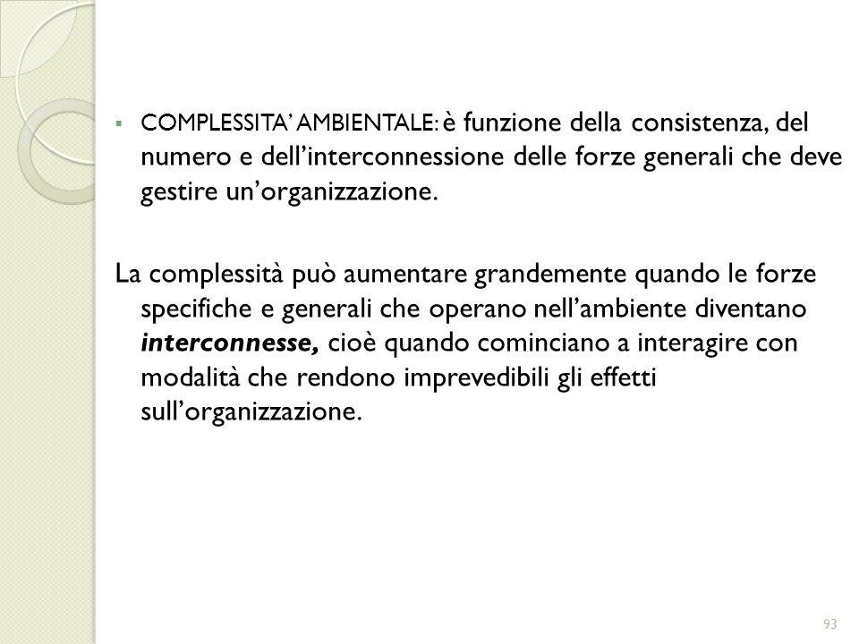 COMPLESSITA AMBIENTALE: è funzione della consistenza, del numero e dellinterconnessione delle forze generali che deve gestire unorganizzazione. La com