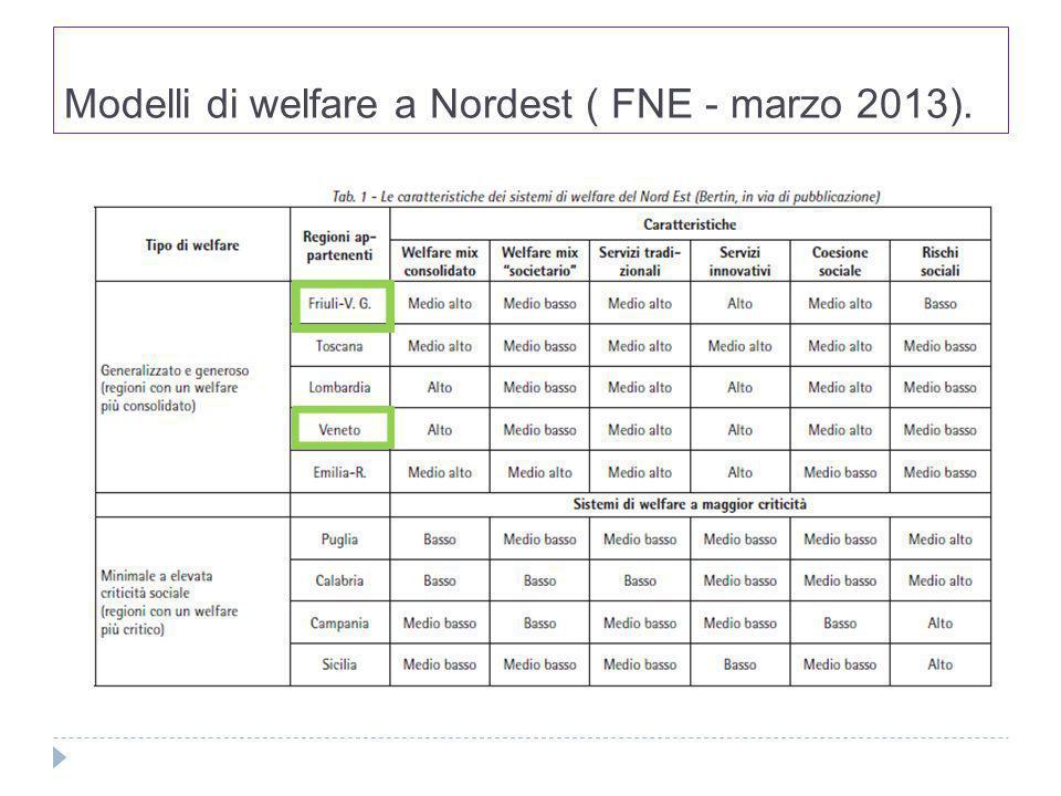 Modelli di welfare a Nordest ( FNE - marzo 2013).