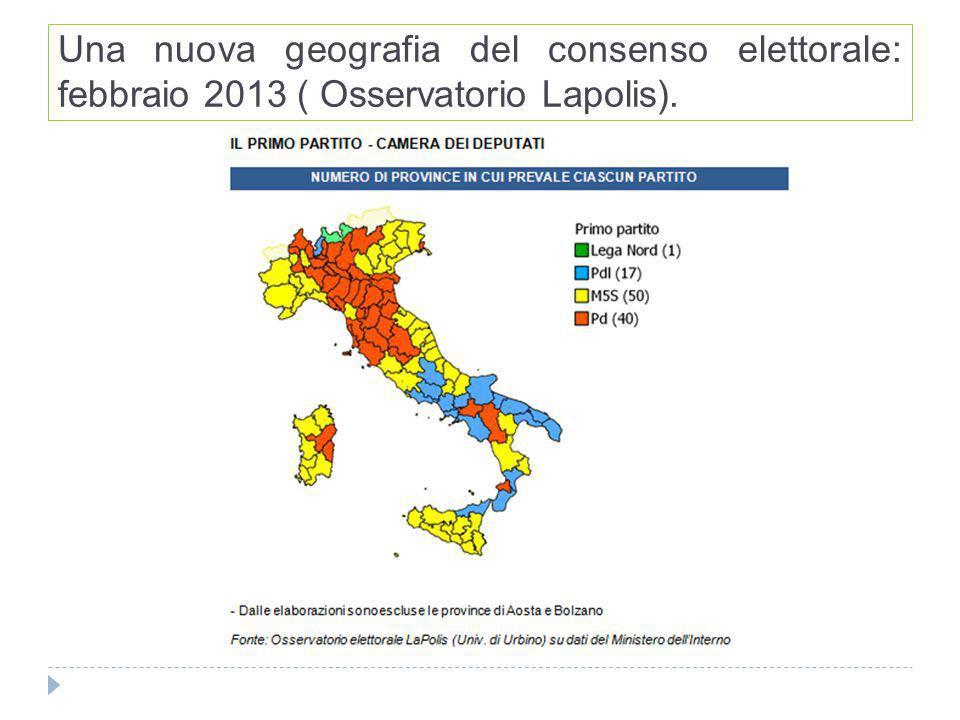 Una nuova geografia del consenso elettorale: febbraio 2013 ( Osservatorio Lapolis).
