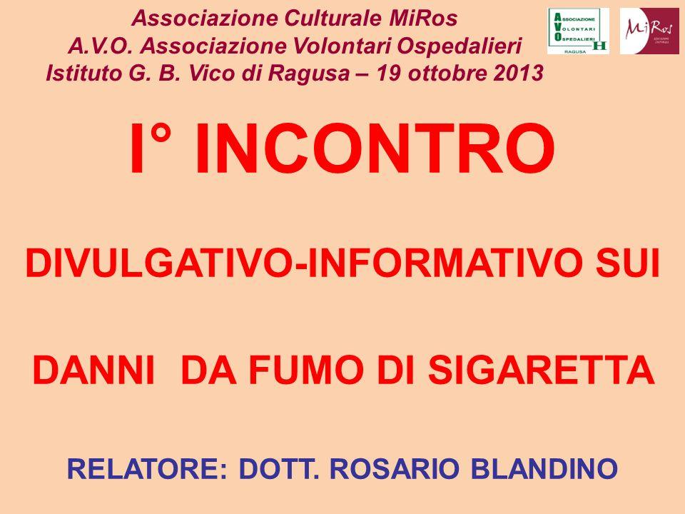 FUMO International Agency for Research on Cancer (IARC) SONO ATTRIBUIBILI ALLA SIGARETTA: DEPRESSIONE DEL SISTEMA IMMUNITARIO 60-70% DEI TUMORI DEL: LARINGE, CAVO ORALE, ESOFAGO,VESCICA, RENI, PANCREAS, COLON-RETTO, LEUCEMIA MIELOIDE ACUTA Associazione Culturale MiRos A.V.O.