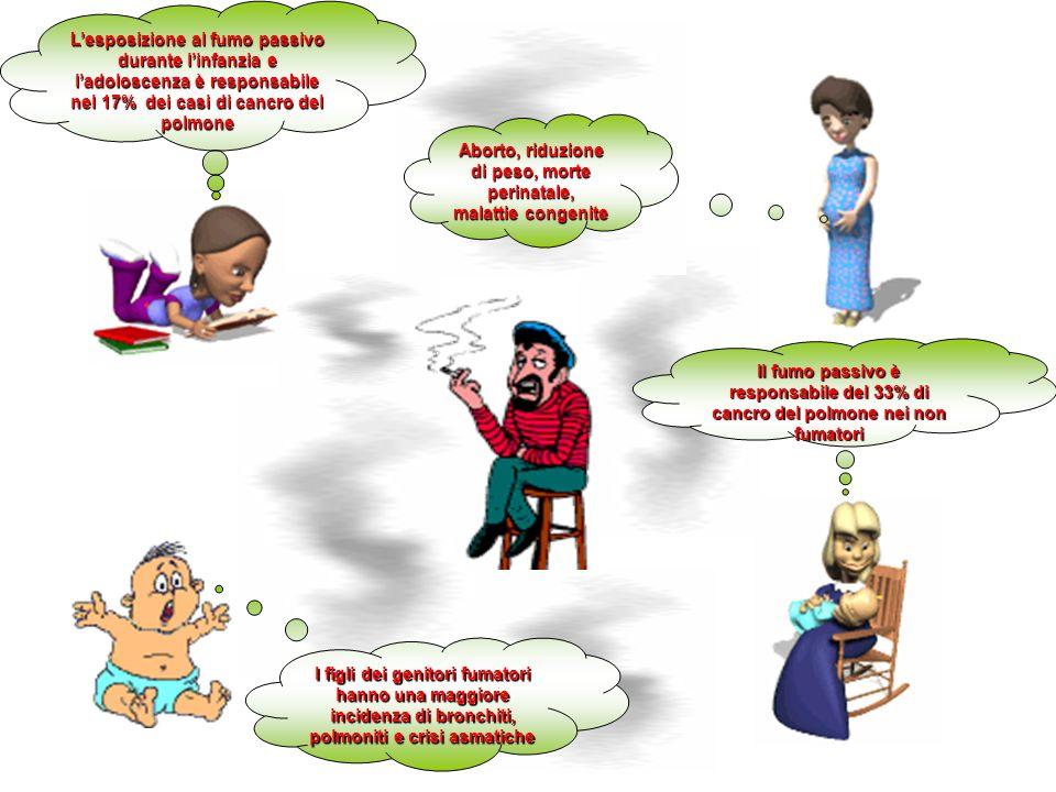 Il fumo passivo è responsabile del 33% di cancro del polmone nei non fumatori Aborto, riduzione di peso, morte perinatale, malattie congenite Lesposiz