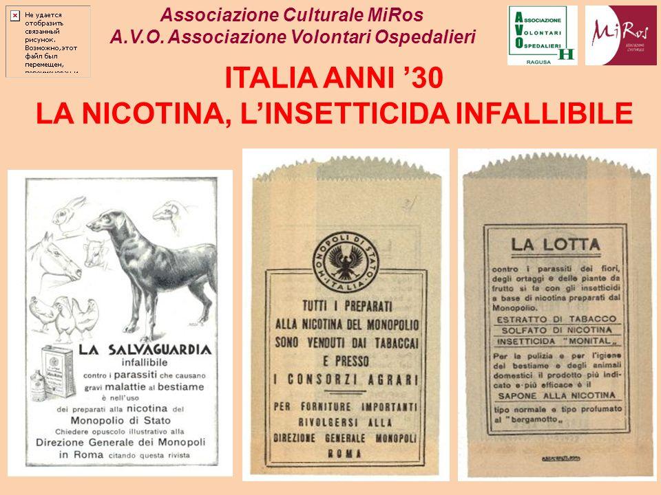 Associazione Culturale MiRos A.V.O. Associazione Volontari Ospedalieri ITALIA ANNI 30 LA NICOTINA, LINSETTICIDA INFALLIBILE