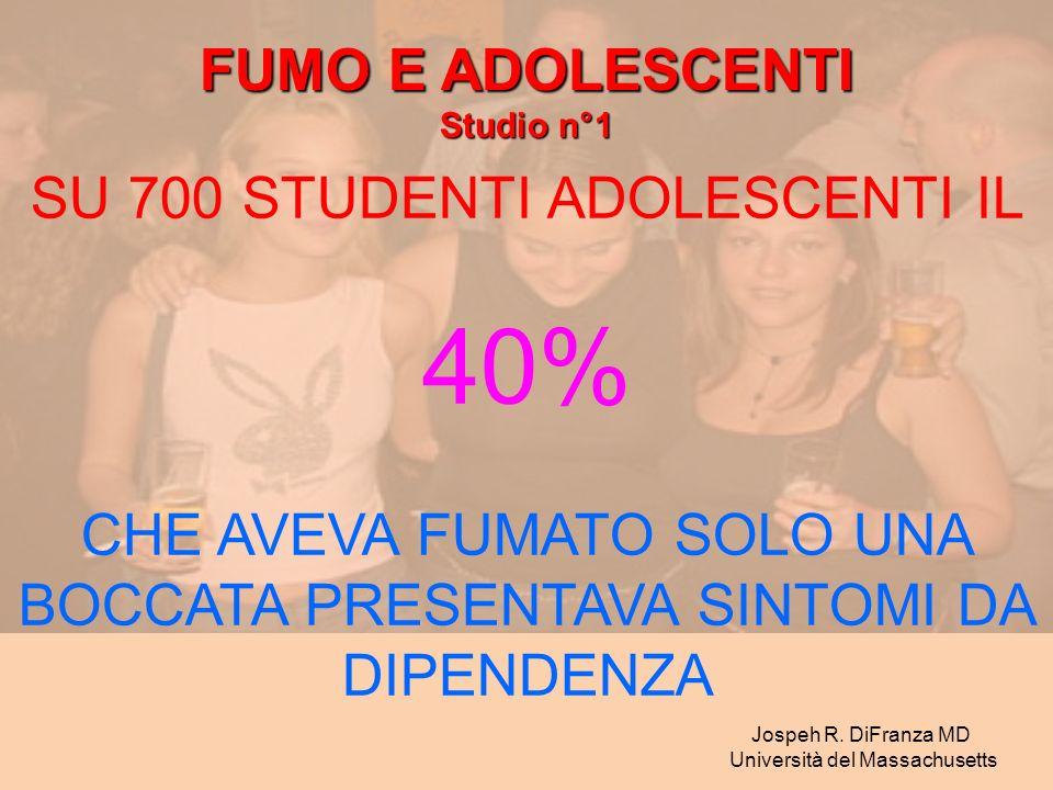 SU 700 STUDENTI ADOLESCENTI IL 40% CHE AVEVA FUMATO SOLO UNA BOCCATA PRESENTAVA SINTOMI DA DIPENDENZA Jospeh R. DiFranza MD Università del Massachuset
