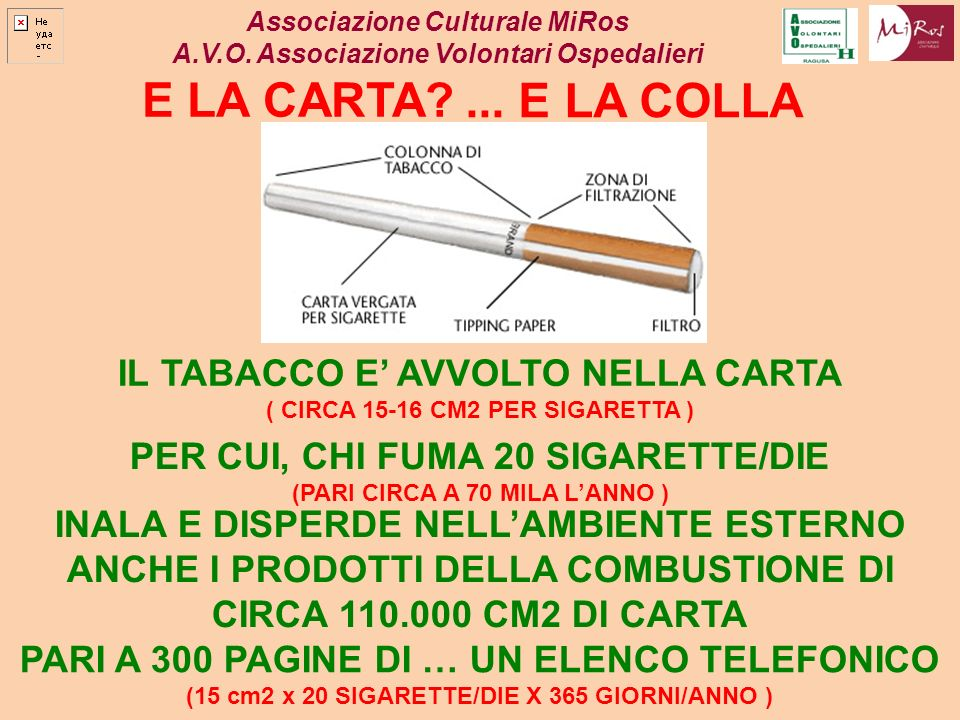 Associazione Culturale MiRos A.V.O. Associazione Volontari Ospedalieri E LA CARTA?... E LA COLLA IL TABACCO E AVVOLTO NELLA CARTA ( CIRCA 15-16 CM2 PE