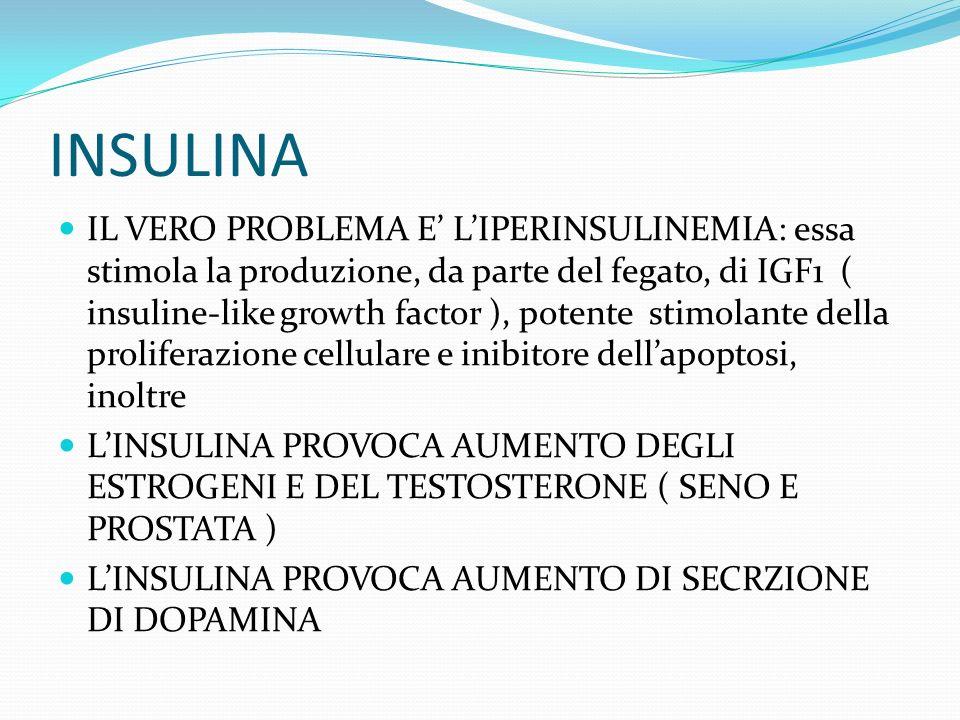 INSULINA IL VERO PROBLEMA E LIPERINSULINEMIA: essa stimola la produzione, da parte del fegato, di IGF1 ( insuline-like growth factor ), potente stimolante della proliferazione cellulare e inibitore dellapoptosi, inoltre LINSULINA PROVOCA AUMENTO DEGLI ESTROGENI E DEL TESTOSTERONE ( SENO E PROSTATA ) LINSULINA PROVOCA AUMENTO DI SECRZIONE DI DOPAMINA