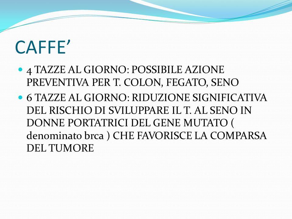 CAFFE 4 TAZZE AL GIORNO: POSSIBILE AZIONE PREVENTIVA PER T. COLON, FEGATO, SENO 6 TAZZE AL GIORNO: RIDUZIONE SIGNIFICATIVA DEL RISCHIO DI SVILUPPARE I