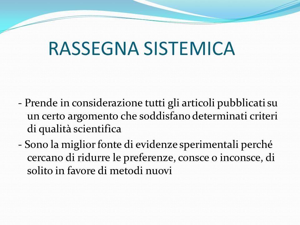 RASSEGNA SISTEMICA - Prende in considerazione tutti gli articoli pubblicati su un certo argomento che soddisfano determinati criteri di qualità scient