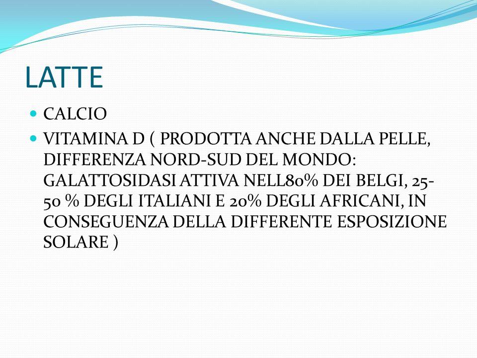 LATTE CALCIO VITAMINA D ( PRODOTTA ANCHE DALLA PELLE, DIFFERENZA NORD-SUD DEL MONDO: GALATTOSIDASI ATTIVA NELL80% DEI BELGI, 25- 50 % DEGLI ITALIANI E 20% DEGLI AFRICANI, IN CONSEGUENZA DELLA DIFFERENTE ESPOSIZIONE SOLARE )