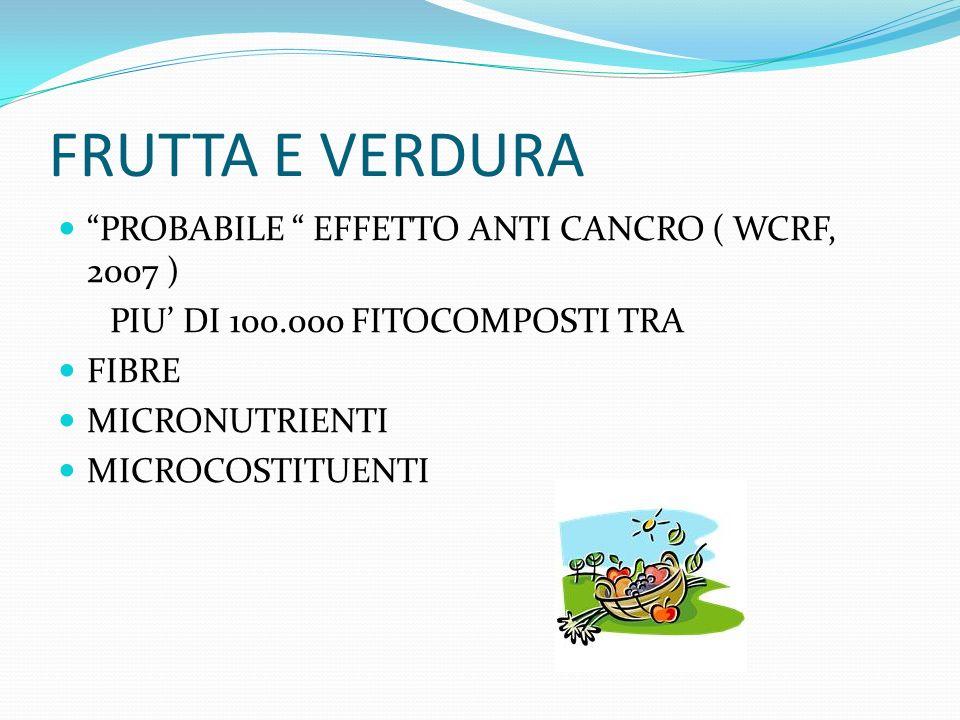 FRUTTA E VERDURA PROBABILE EFFETTO ANTI CANCRO ( WCRF, 2007 ) PIU DI 100.000 FITOCOMPOSTI TRA FIBRE MICRONUTRIENTI MICROCOSTITUENTI