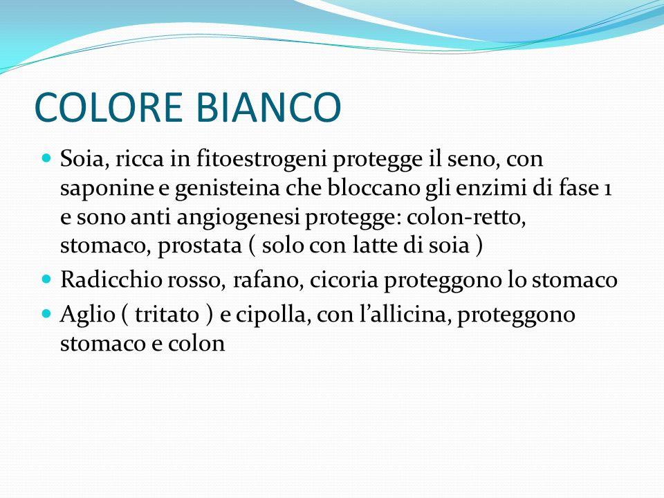 COLORE BIANCO Soia, ricca in fitoestrogeni protegge il seno, con saponine e genisteina che bloccano gli enzimi di fase 1 e sono anti angiogenesi prote