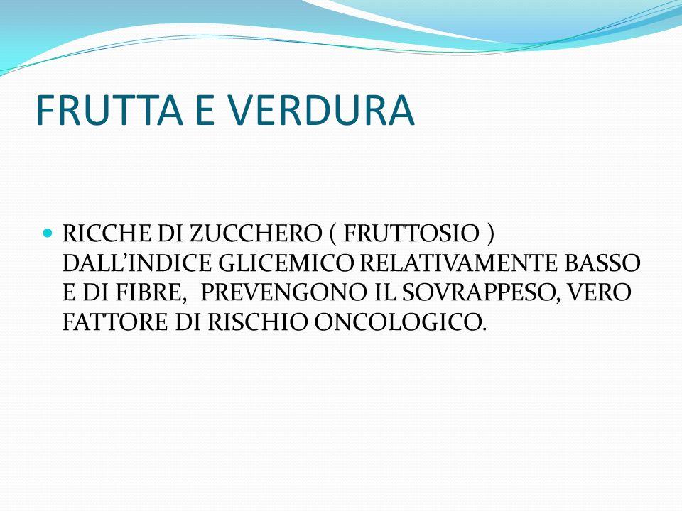 FRUTTA E VERDURA RICCHE DI ZUCCHERO ( FRUTTOSIO ) DALLINDICE GLICEMICO RELATIVAMENTE BASSO E DI FIBRE, PREVENGONO IL SOVRAPPESO, VERO FATTORE DI RISCHIO ONCOLOGICO.