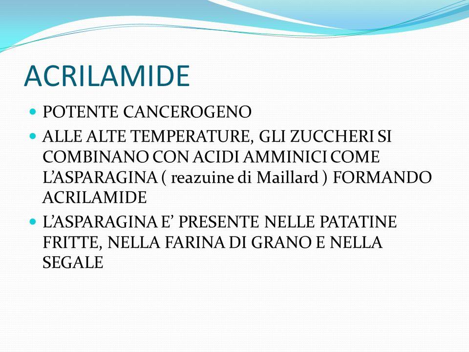 ACRILAMIDE POTENTE CANCEROGENO ALLE ALTE TEMPERATURE, GLI ZUCCHERI SI COMBINANO CON ACIDI AMMINICI COME LASPARAGINA ( reazuine di Maillard ) FORMANDO ACRILAMIDE LASPARAGINA E PRESENTE NELLE PATATINE FRITTE, NELLA FARINA DI GRANO E NELLA SEGALE