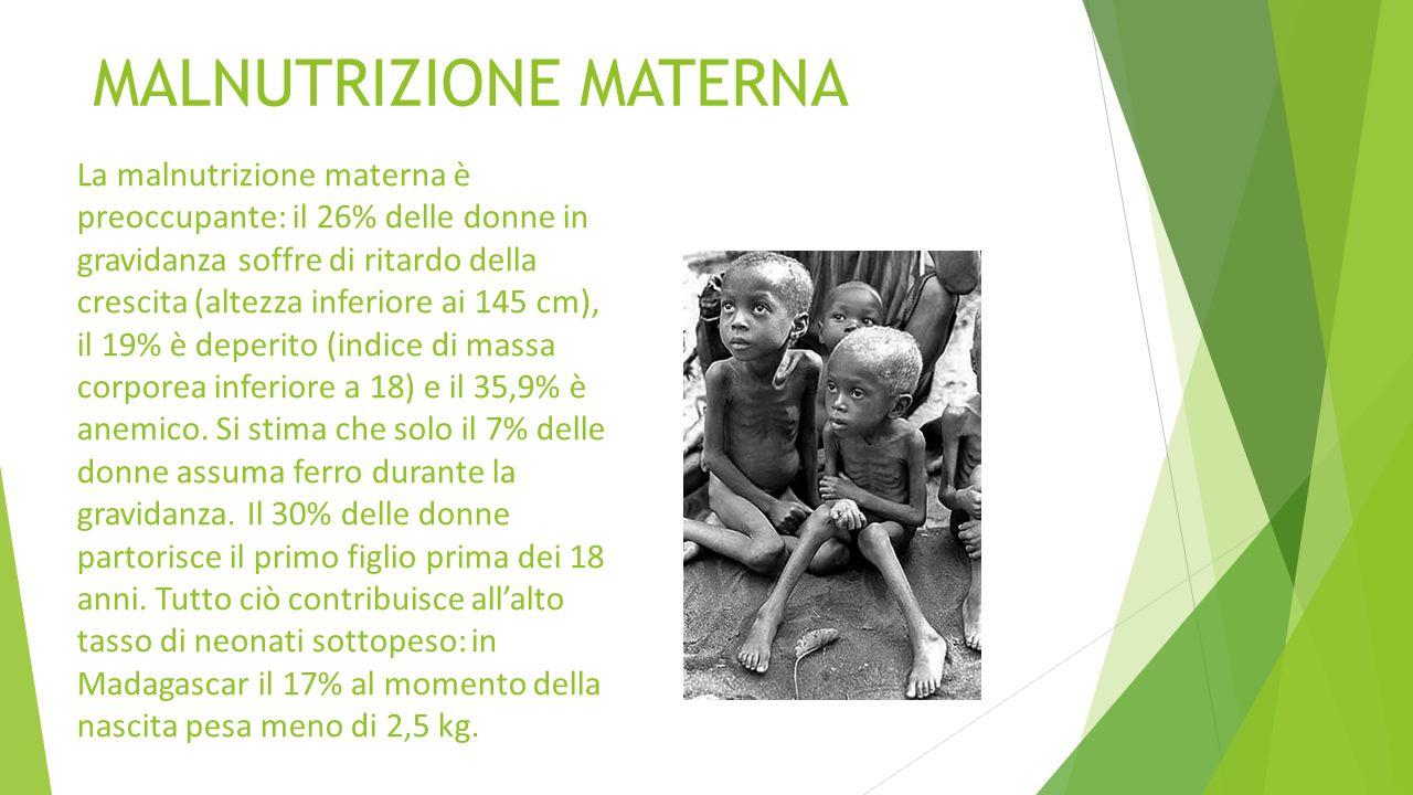 MALNUTRIZIONE MATERNA La malnutrizione materna è preoccupante: il 26% delle donne in gravidanza soffre di ritardo della crescita (altezza inferiore ai
