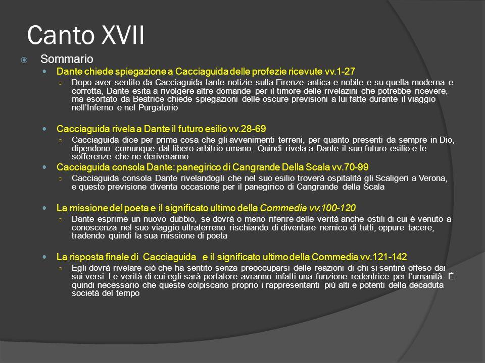 Canto XVII Sommario Dante chiede spiegazione a Cacciaguida delle profezie ricevute vv.1-27 Dopo aver sentito da Cacciaguida tante notizie sulla Firenz