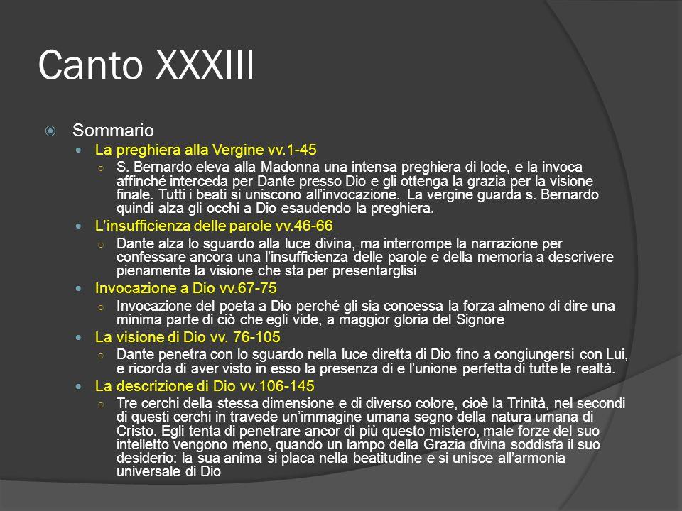 Canto XXXIII Sommario La preghiera alla Vergine vv.1-45 S. Bernardo eleva alla Madonna una intensa preghiera di lode, e la invoca affinché interceda p