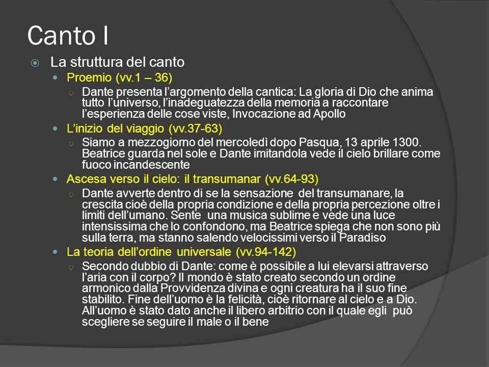Canto I La struttura del canto Proemio (vv.1 – 36) Dante presenta largomento della cantica: La gloria di Dio che anima tutto luniverso, linadeguatezza
