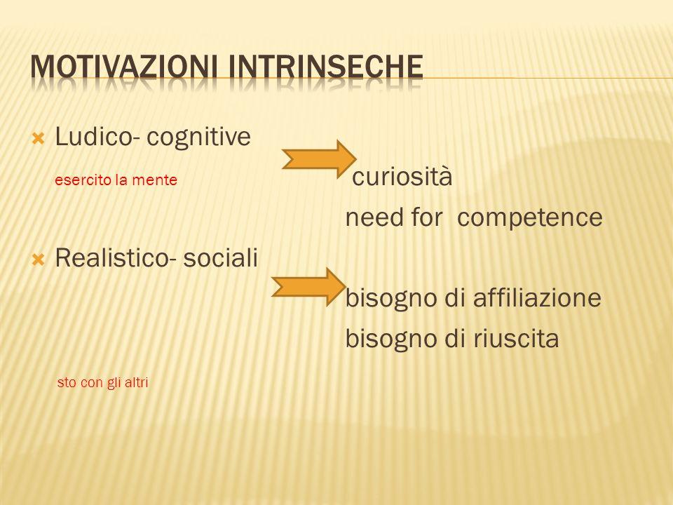 Ludico- cognitive esercito la mente curiosità need for competence Realistico- sociali bisogno di affiliazione bisogno di riuscita sto con gli altri