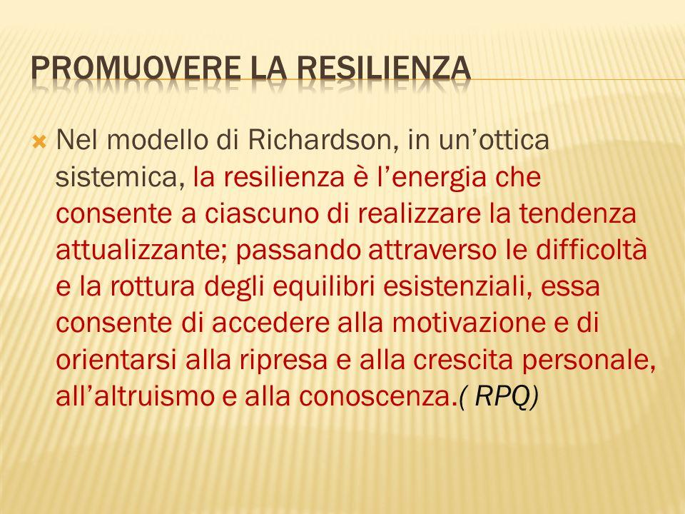 Nel modello di Richardson, in unottica sistemica, la resilienza è lenergia che consente a ciascuno di realizzare la tendenza attualizzante; passando a