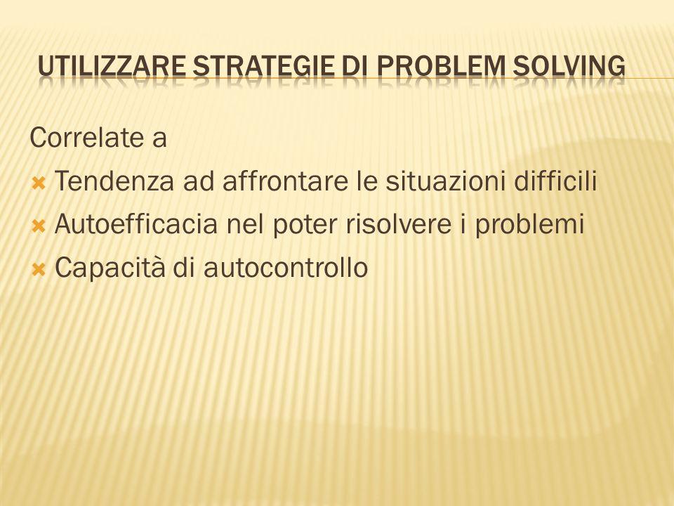 Correlate a Tendenza ad affrontare le situazioni difficili Autoefficacia nel poter risolvere i problemi Capacità di autocontrollo