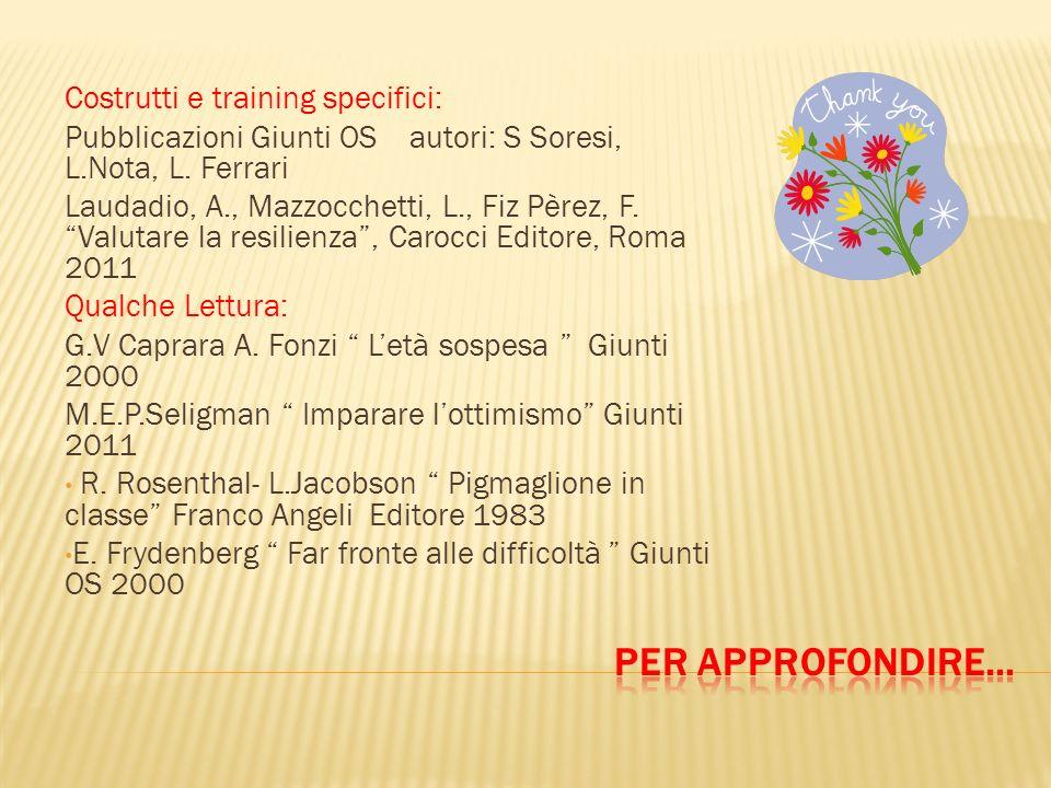 Costrutti e training specifici: Pubblicazioni Giunti OS autori: S Soresi, L.Nota, L. Ferrari Laudadio, A., Mazzocchetti, L., Fiz Pèrez, F. Valutare la